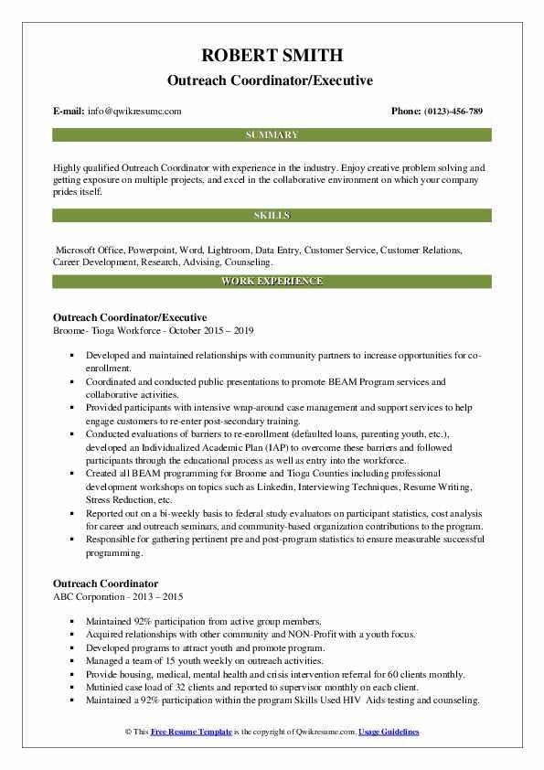 Outreach Coordinator/Executive  Resume Format