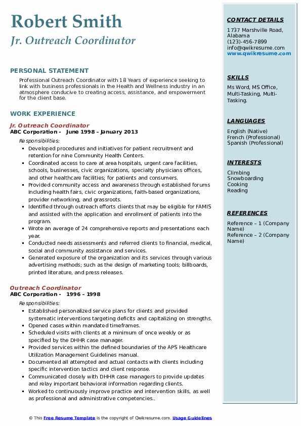 Jr. Outreach Coordinator Resume Example