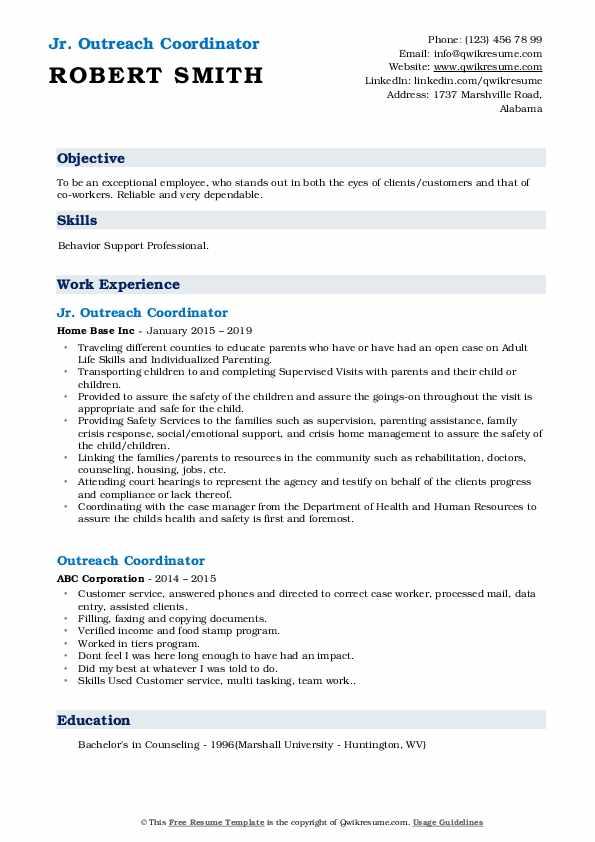 Jr. Outreach Coordinator Resume Template