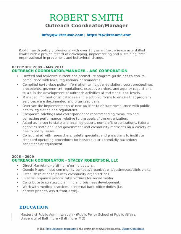 Outreach Coordinator/Manager Resume Template