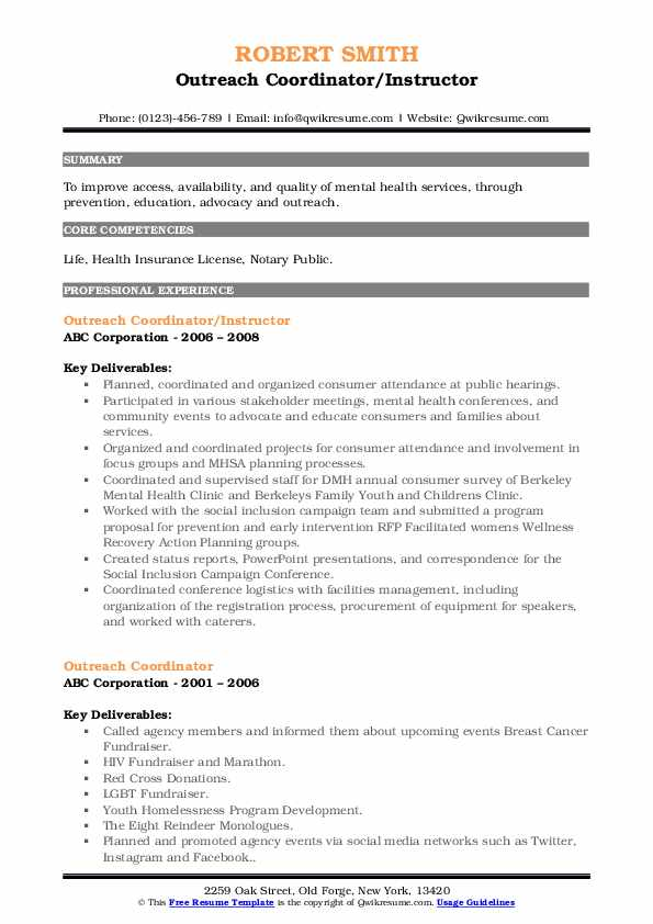 Outreach Coordinator/Instructor Resume Example
