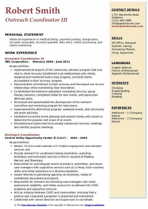 Outreach Coordinator III Resume Template