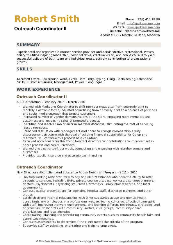 Outreach Coordinator II Resume Format