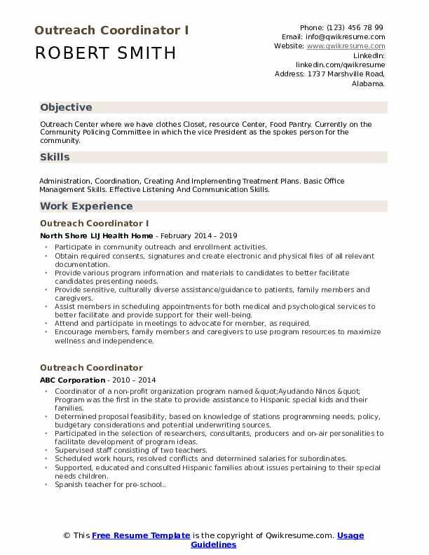 Outreach Coordinator I Resume Template