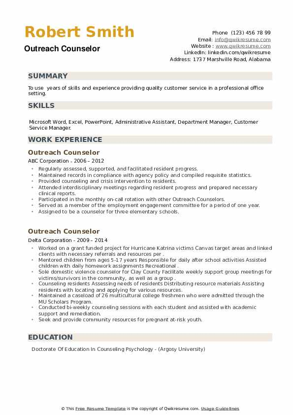Outreach Counselor Resume example
