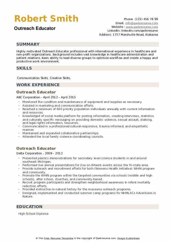 Outreach Educator Resume example