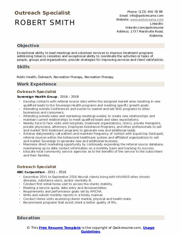 Outreach Specialist Resume Template