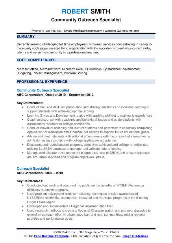 Community Outreach Specialist Resume Format