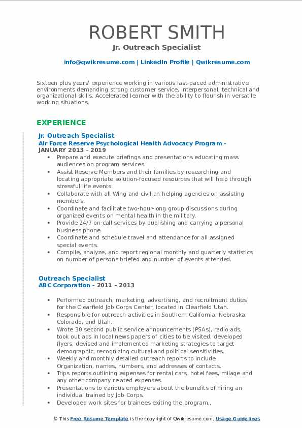 Jr. Outreach Specialist Resume Format
