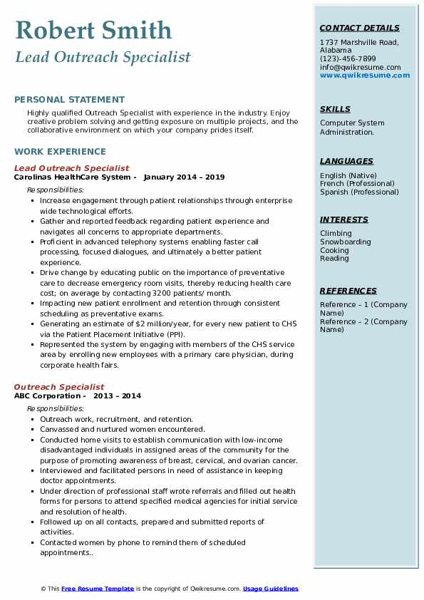 Lead Outreach Specialist Resume Model