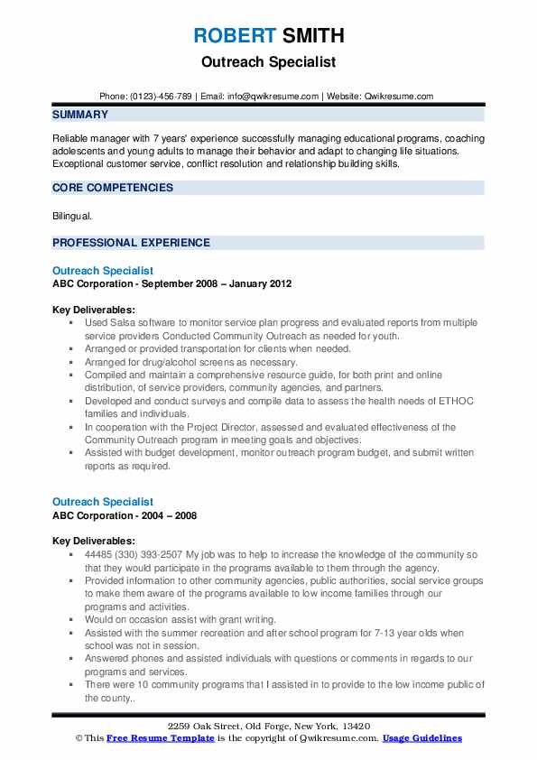 Outreach Specialist Resume example