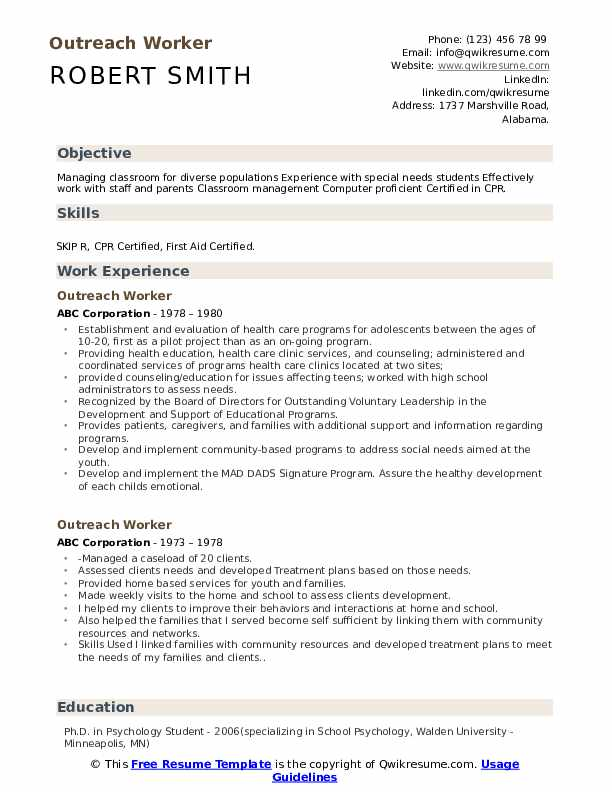 Outreach Worker Resume Model