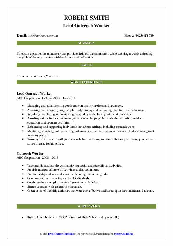 Lead Outreach Worker Resume Template