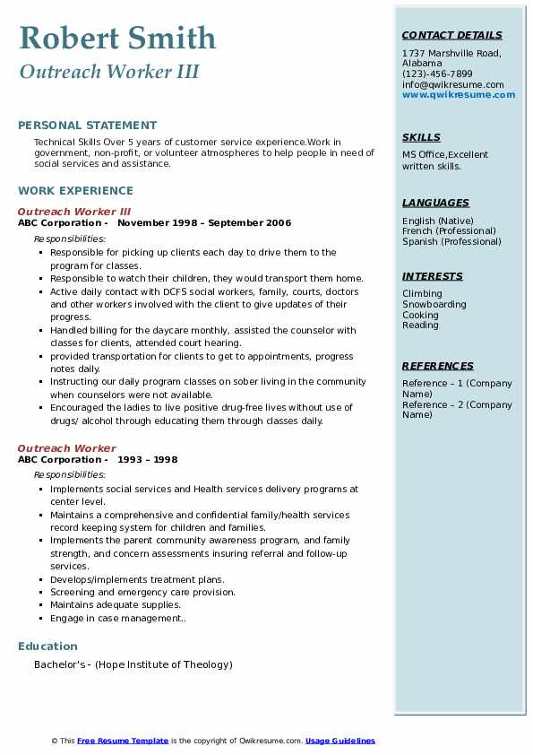 Outreach Worker III Resume Example