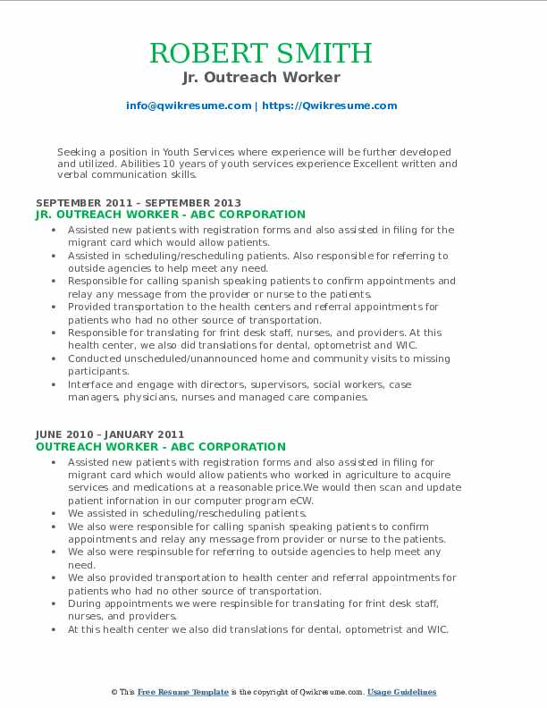 Jr. Outreach Worker Resume Format