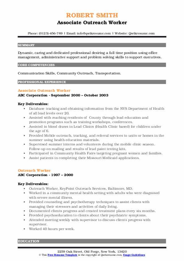 Associate Outreach Worker Resume Example