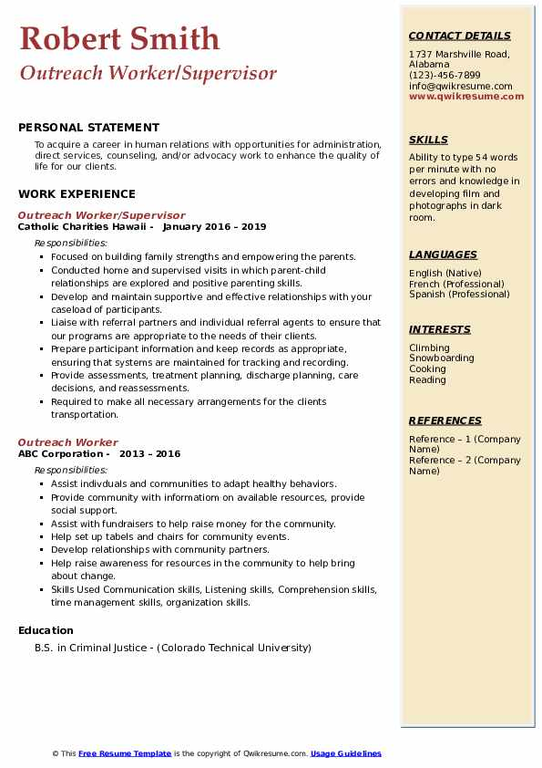 Outreach Worker/Supervisor Resume Template