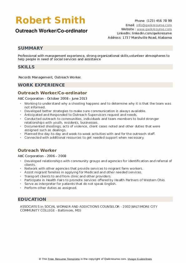 Outreach Worker/Co-ordinator Resume Format