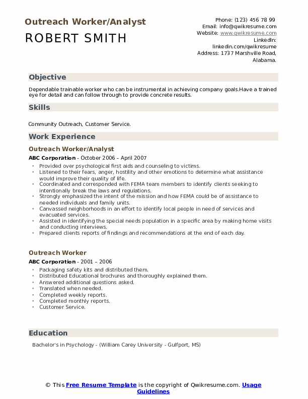 Outreach Worker/Analyst Resume Sample
