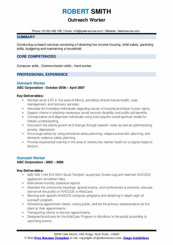 Outreach Worker Resume example