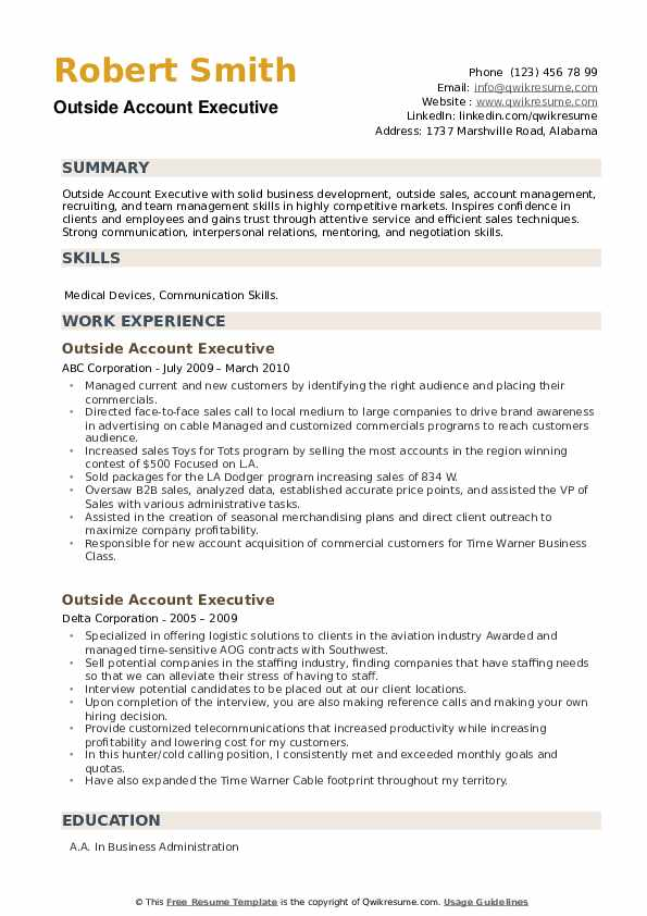 Outside Account Executive Resume example