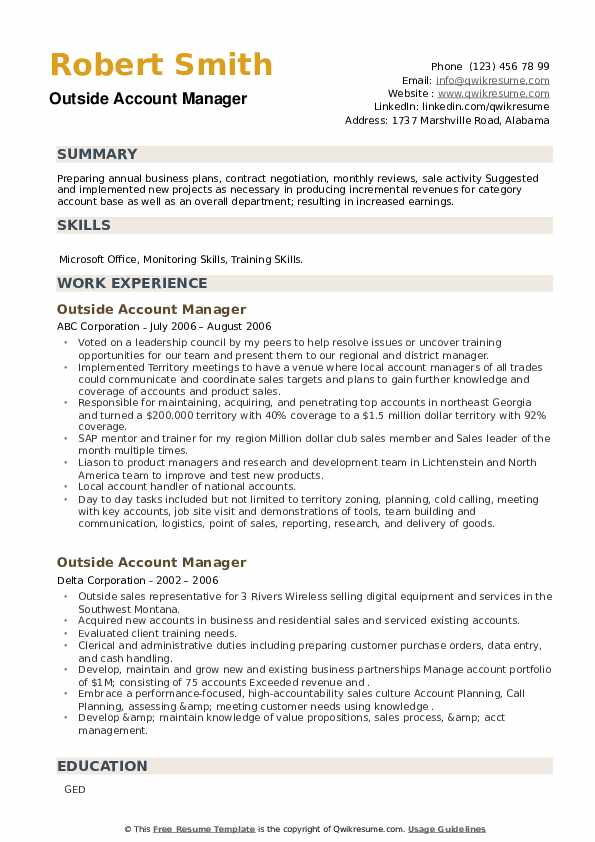 Outside Account Manager Resume example