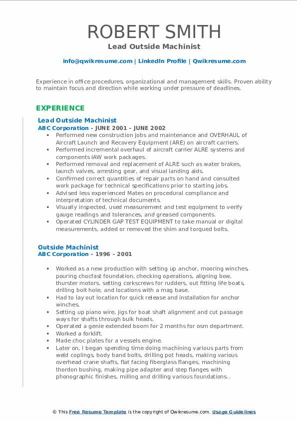 Lead Outside Machinist Resume Template