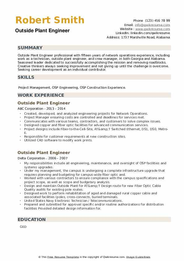 Outside Plant Engineer Resume example