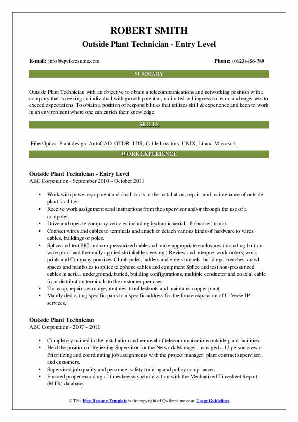 Outside Plant Technician - Entry Level Resume Example