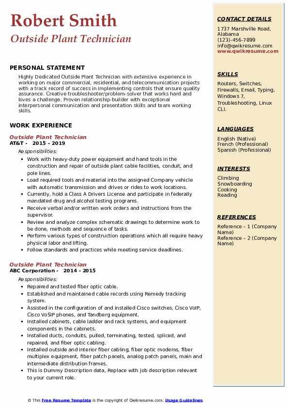 Outside Plant Technician Resume Example