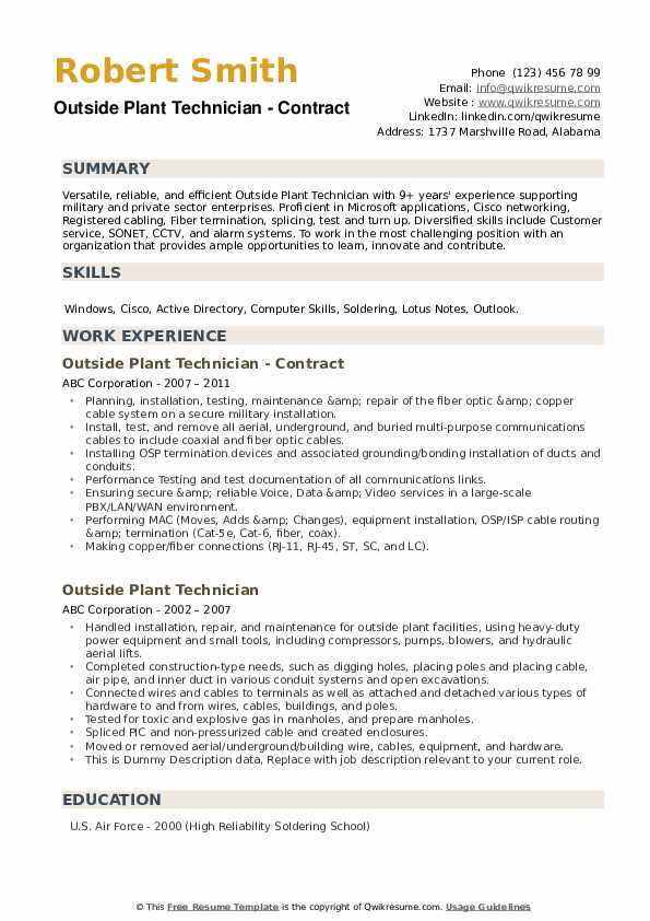 Outside Plant Technician Resume example