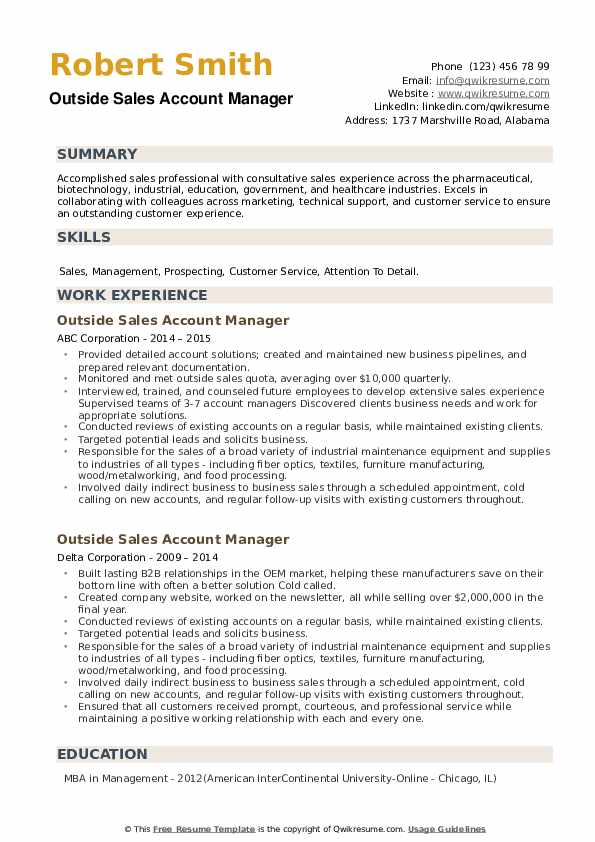 Outside Sales Account Manager Resume example