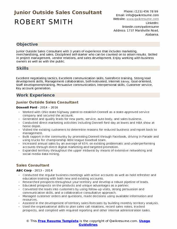 Junior Outside Sales Consultant Resume Sample