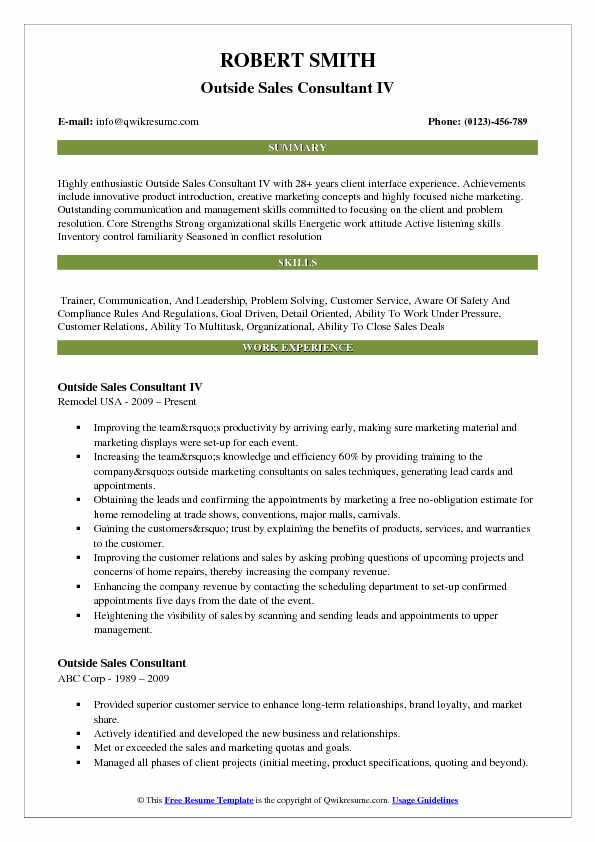 Outside Sales Consultant IV Resume Format