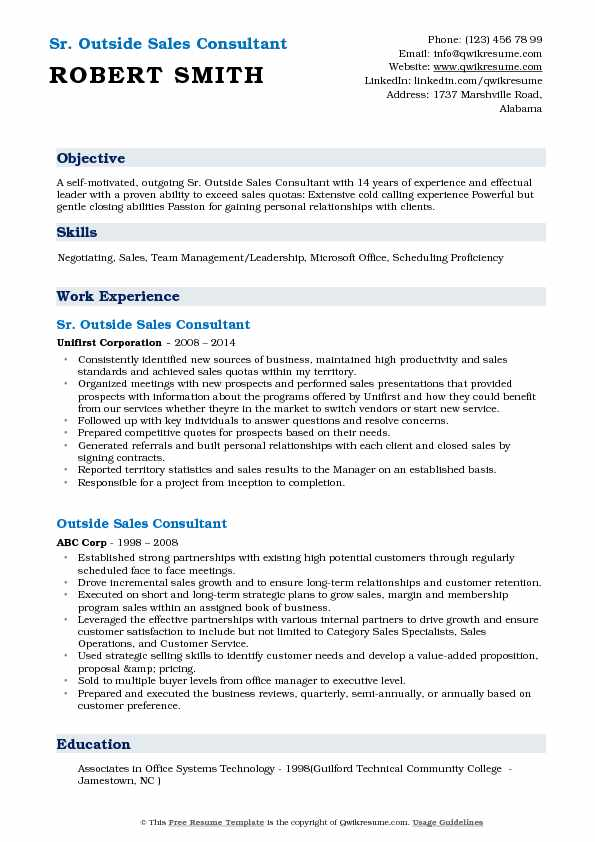 Sr. Outside Sales Consultant Resume Template