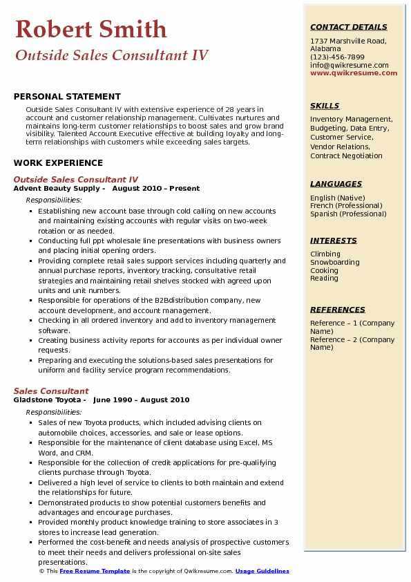 Outside Sales Consultant IV Resume Model