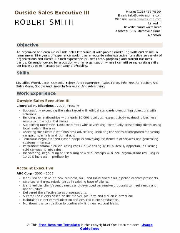 Outside Sales Executive III Resume Model
