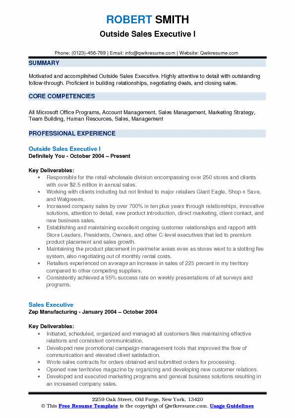 Outside Sales Executive I Resume Example