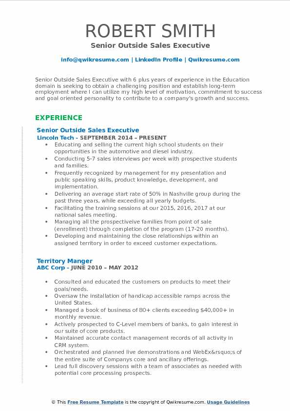 Senior Outside Sales Executive Resume Sample