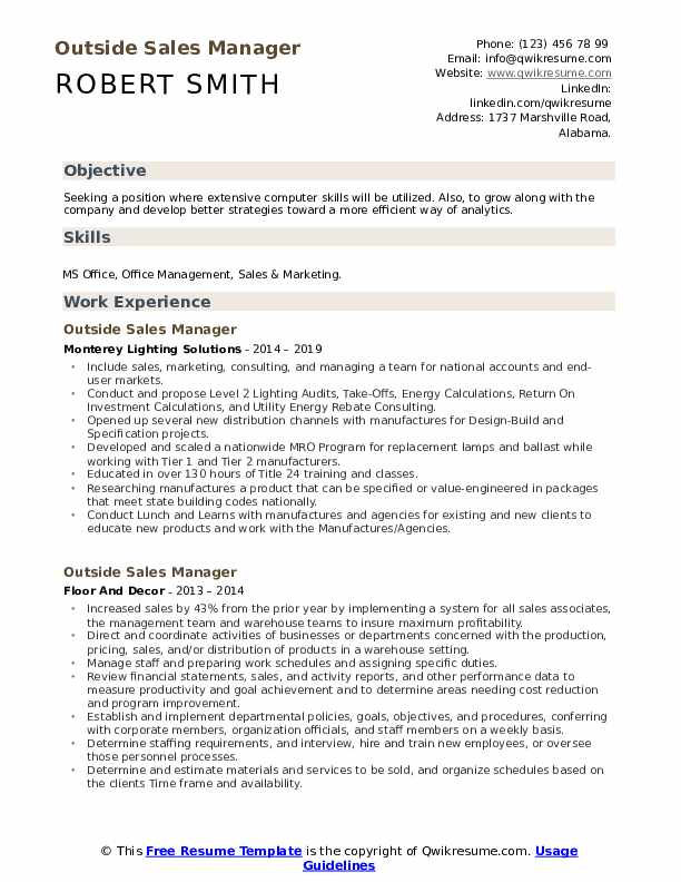Outside Sales Manager Resume Format