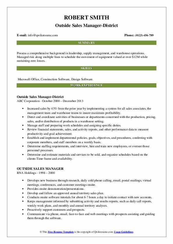 Outside Sales Manager-District Resume Example