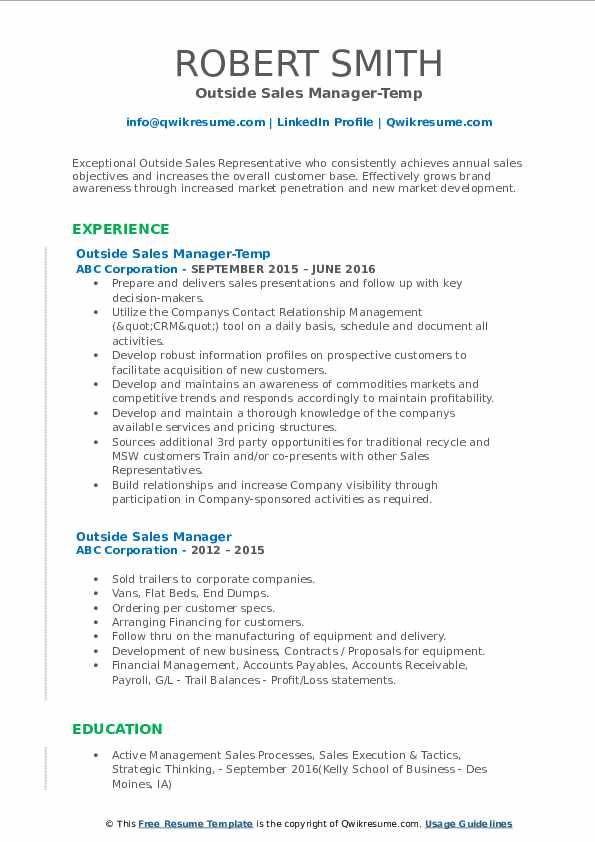 Outside Sales Manager-Temp Resume Sample