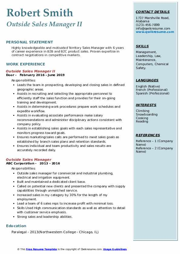 Outside Sales Manager II Resume Example