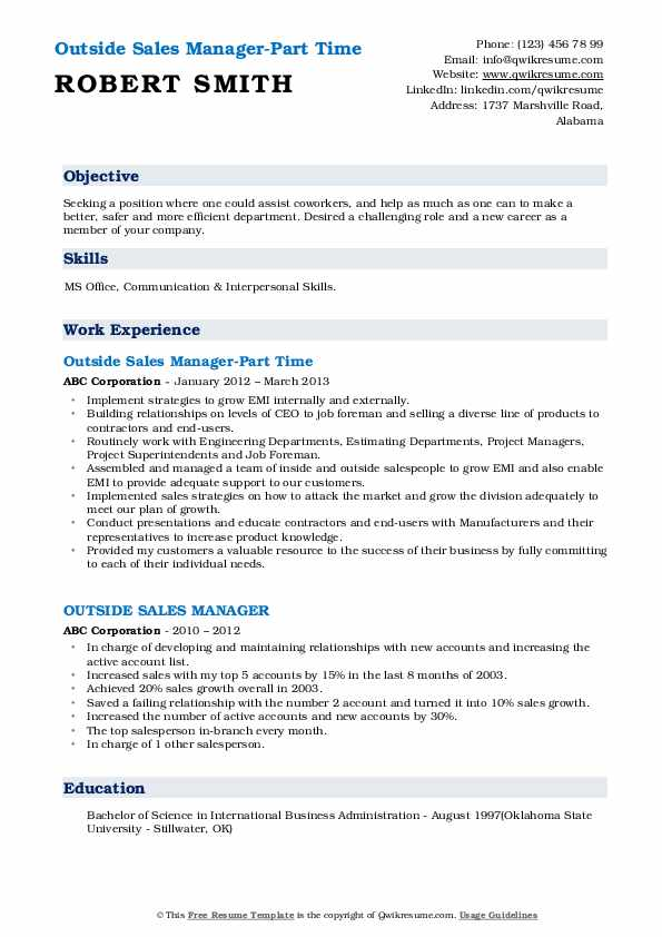 Outside Sales Manager-Part Time Resume Sample