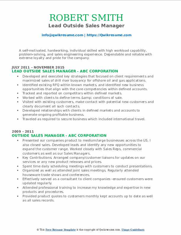 Lead Outside Sales Manager Resume Sample