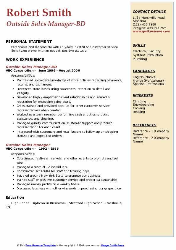 Outside Sales Manager-BD Resume Sample