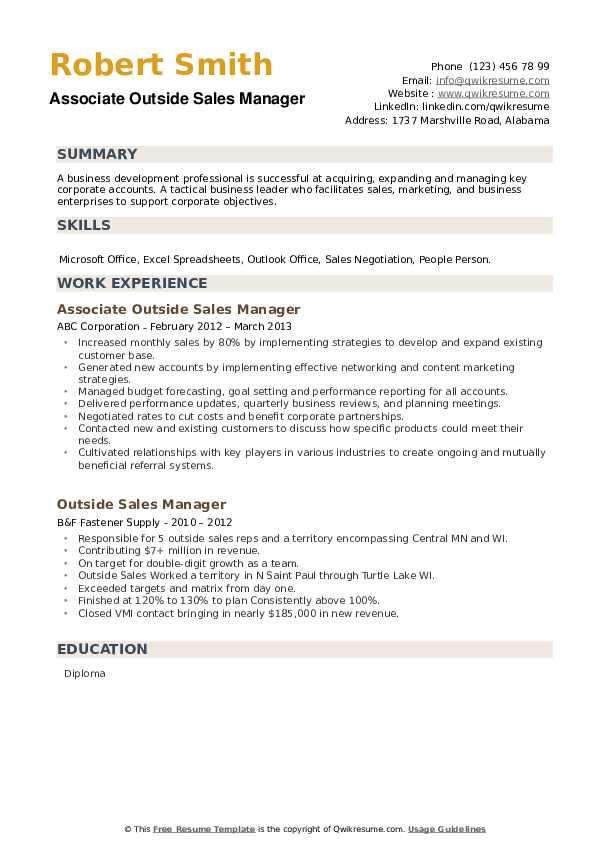 Associate Outside Sales Manager Resume Model