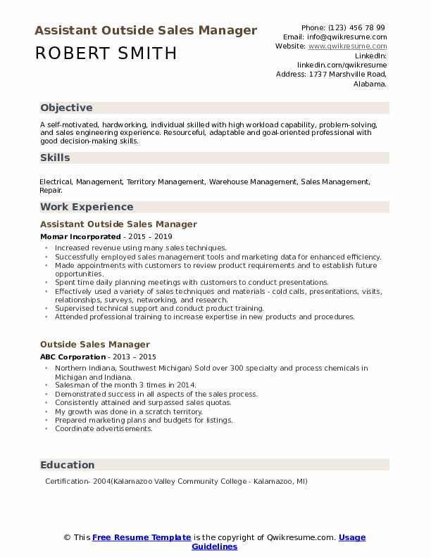 Assistant Outside Sales Manager Resume Model