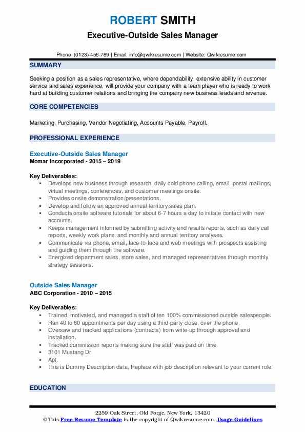 Executive-Outside Sales Manager Resume Model