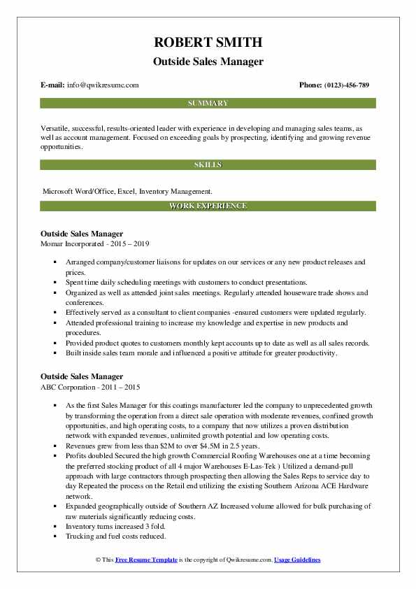 Outside Sales Manager Resume example